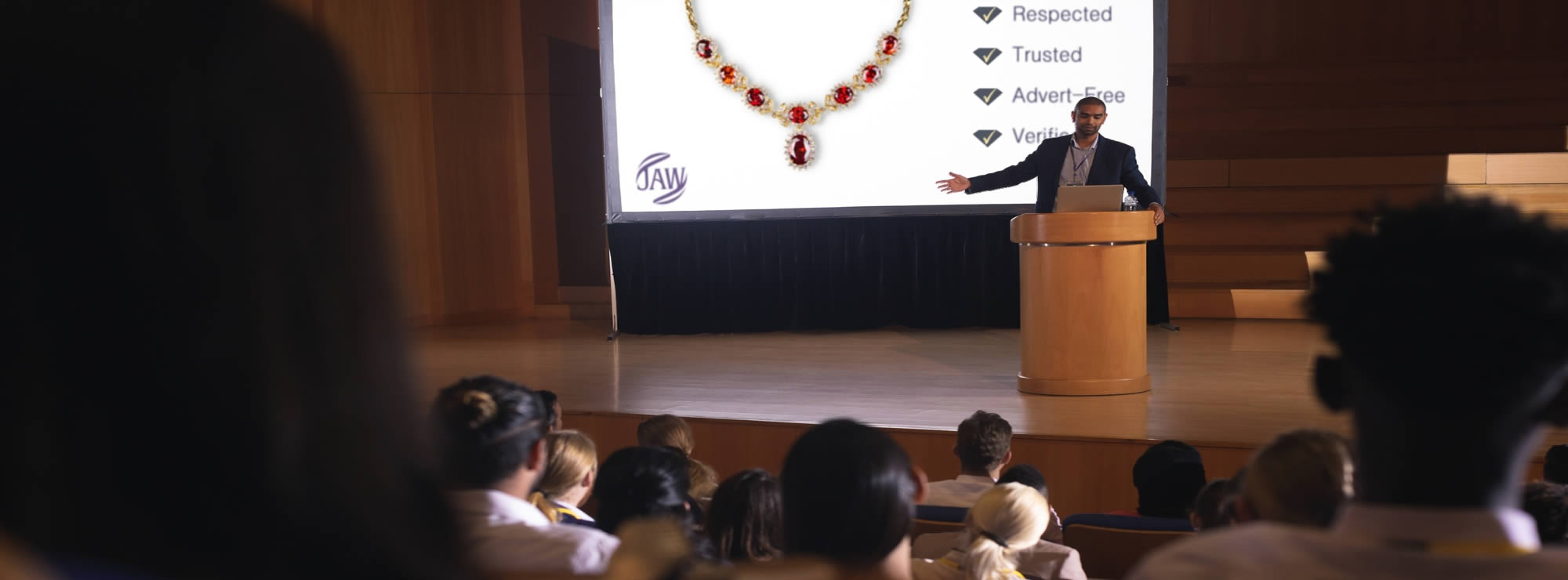 Presenter at a Jewellery Association conference