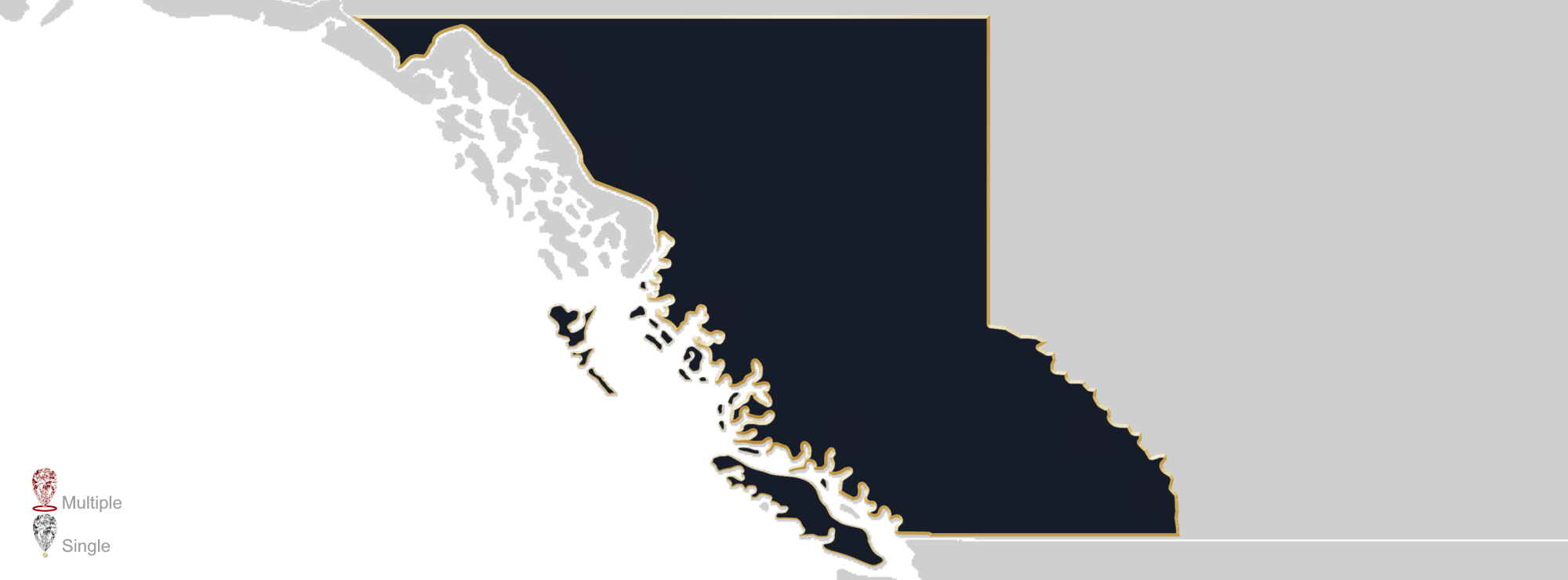 Map showing the location of Jewellery Appraisers in British Columbia