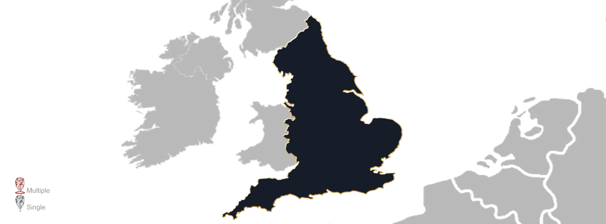 Map showing the location of jewellery valuers in England