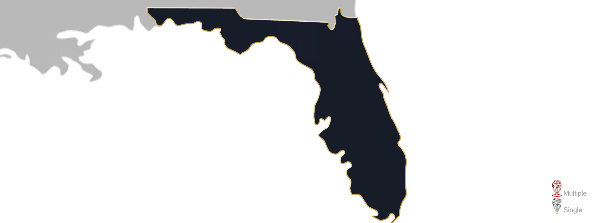 Map showing location of Jewelry Appraisers in Florida
