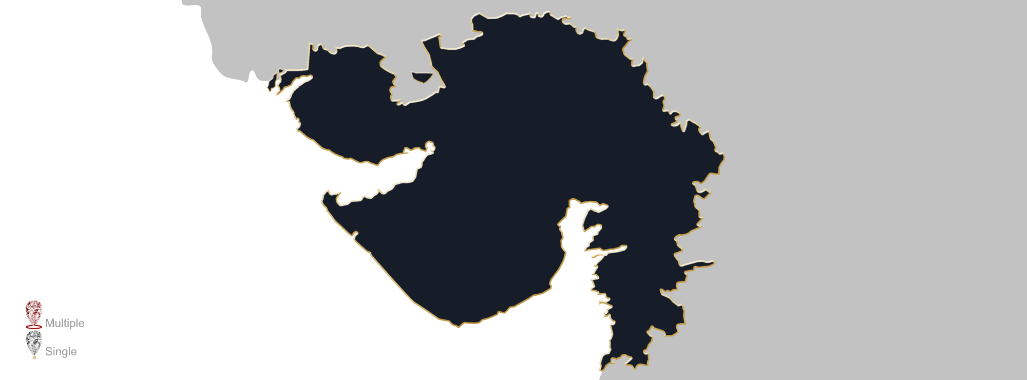 Map showing the location of jewellery valuers in Gujarat