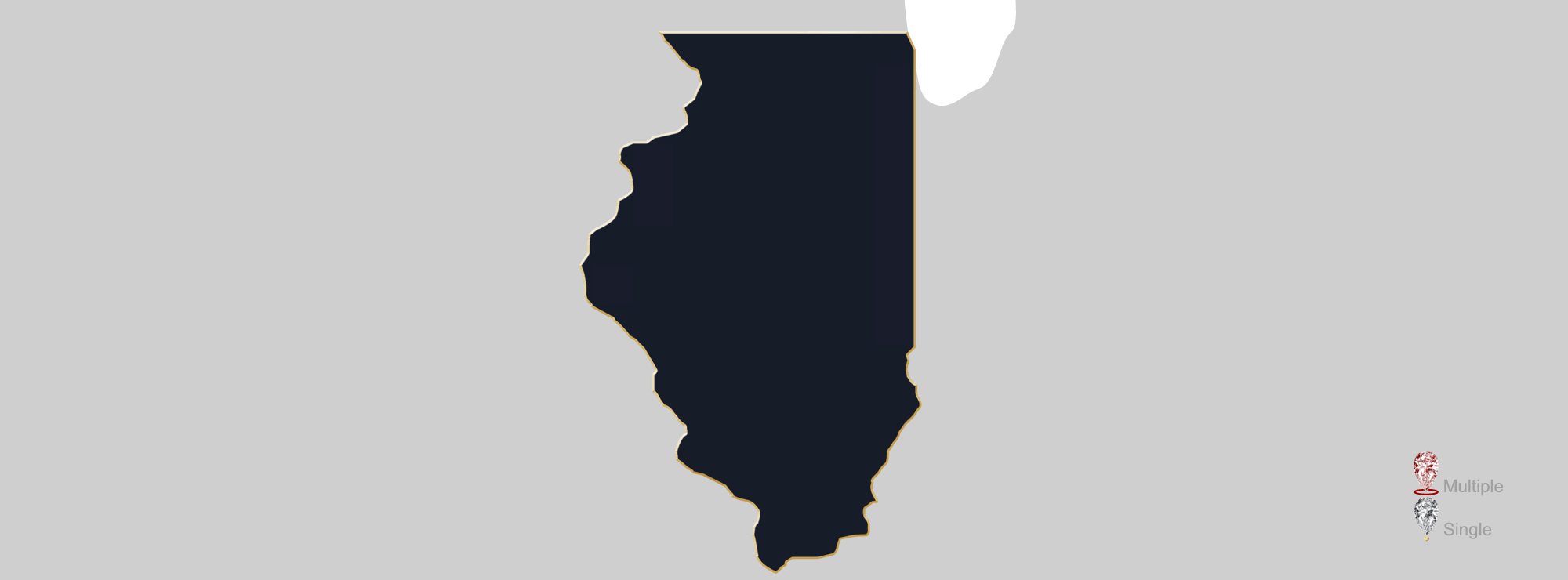 Map showing location of jewelry appraisers in Illinois