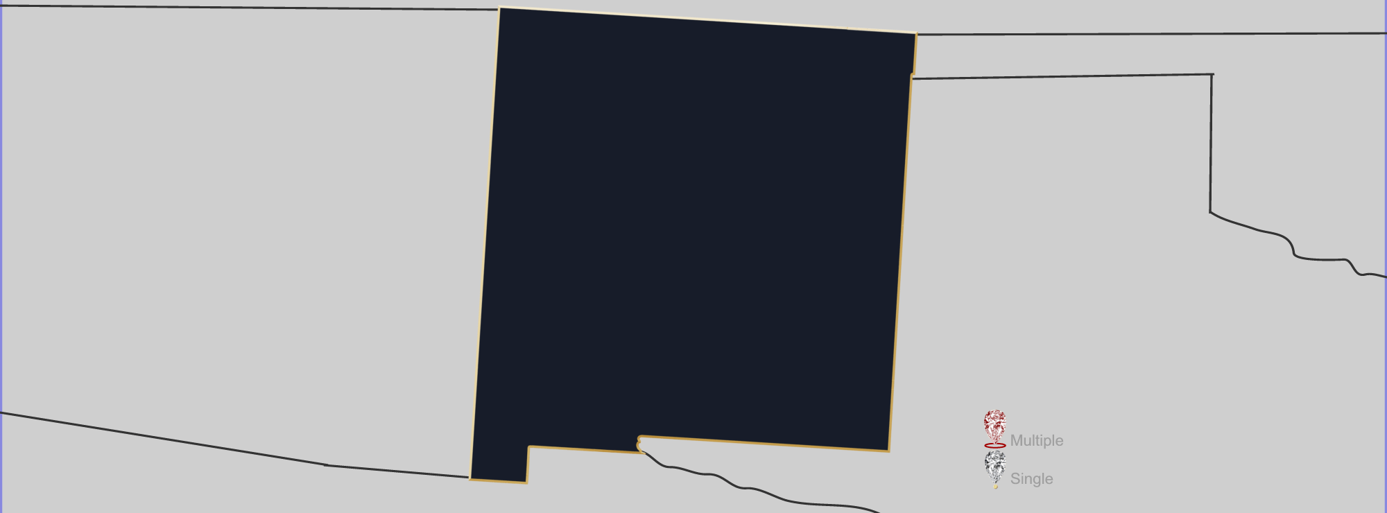 Map showing location of jewelry appraisers in New Mexico