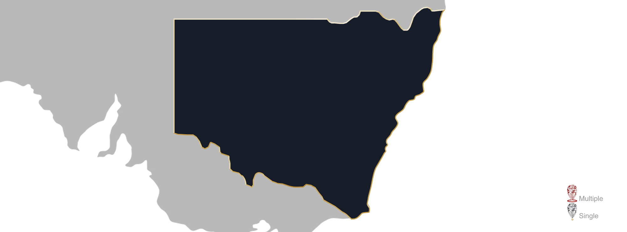 Map showing location of jewellery valuers in New South Wales