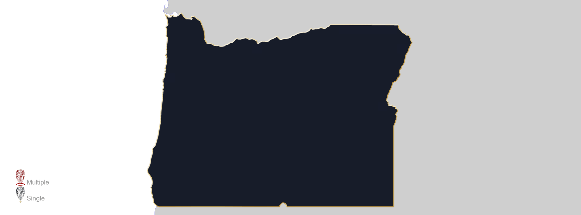 Map showing location of jewelry appraisers in Oregon