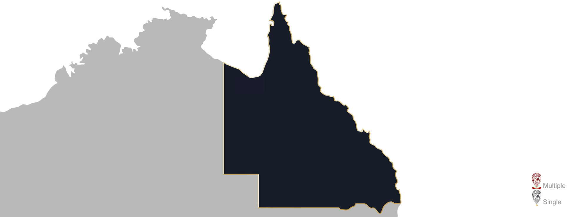 Map showing location of jewellery valuers in Queensland