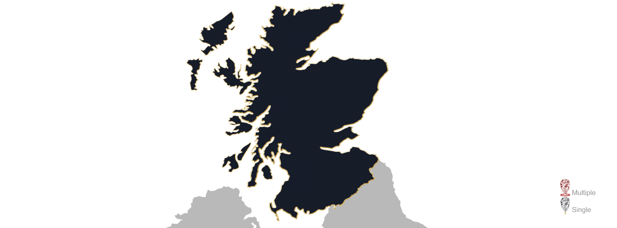 Map showing the location of Jewellery Valuers in Scotland