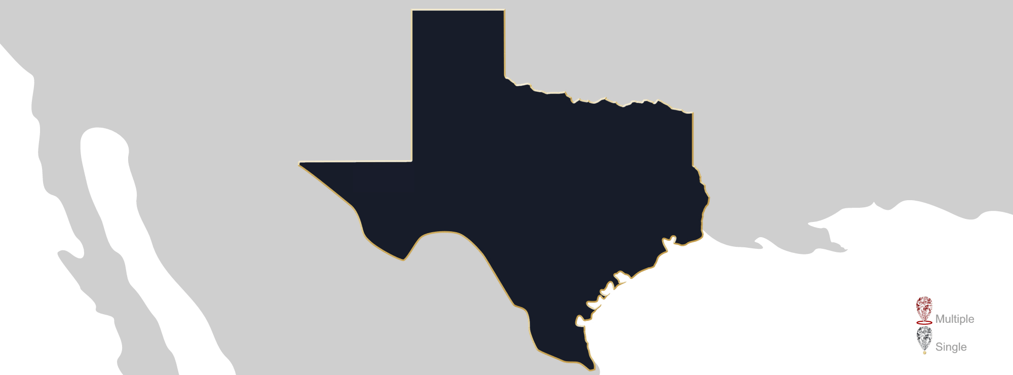 Map showing location of Jewelry Appraisers in Texas