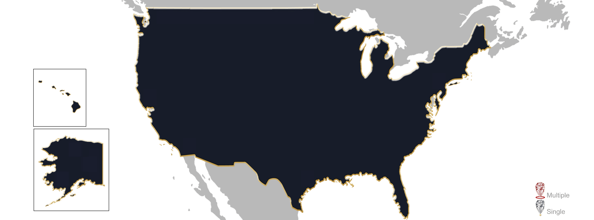 Map showing location of jewelry appraisers in the US